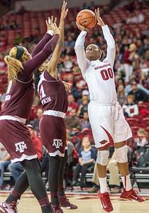Arkansas Lady Razorbacks forward Jessica Jackson (00) shoots during a basketball game between Arkansas and Texas A&M on January 7, 2016.    (Alan Jamison, Nate Allen Sports Service)