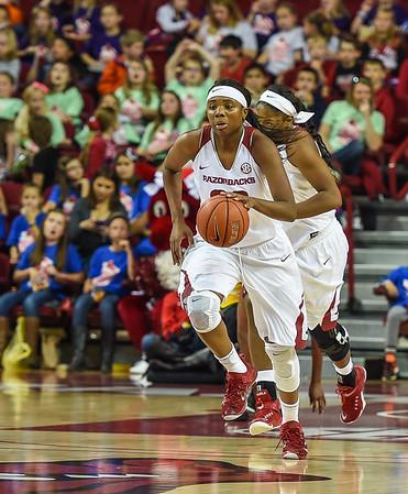 Arkansas Lady Razorbacks forward Jessica Jackson (00) takes the ball downcourt during a basketball game between Arkansas and Southeastern Louisiana on November 13, 2015.    (Alan Jamison, Nate Allen Sports Service)