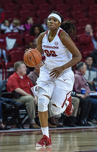 Arkansas Lady Razorbacks forward Jessica Jackson (00) with the ball during a basketball game between Arkansas and Southeastern Louisiana on November 13, 2015.    (Alan Jamison, Nate Allen Sports Service)