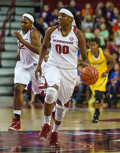 Arkansas Lady Razorbacks forward Jessica Jackson (00) takes the ball downcourt during a basketball game between Arkansas and Southeastern Louisiana on November 13, 2015.    (Alan Jamison, Nate Allen Sports Service)
