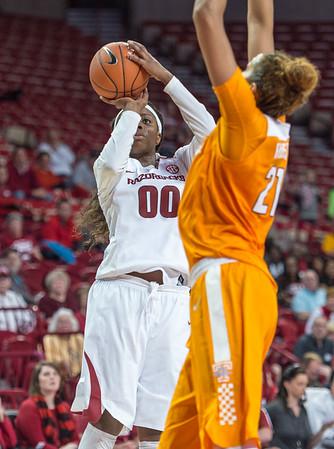 Arkansas Lady Razorbacks forward Jessica Jackson (00) shoots during a basketball game between Arkansas and Tennessee on January 14, 2016.    (Alan Jamison, Nate Allen Sports Service)