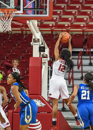 Arkansas Lady Razorbacks guard Briunna Freeman (12) with a rebound during a basketball game between Arkansas and Tulsa on November 23, 2015.    (Alan Jamison, Nate Allen Sports Service)