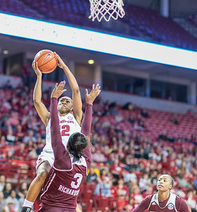 Arkansas Lady Razorbacks guard Briunna Freeman (12) shoots a layup during a basketball game between Arkansas Lady Razorbacks and Mississippi State Lady Bulldogs  on January 31, 2016.    (Alan Jamison, Nate Allen Sports Service)