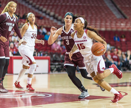 Arkansas Lady Razorbacks guard Kelsey Brooks (15) drives to the basket during a basketball game between Arkansas and Texas A&M on January 7, 2016.    (Alan Jamison, Nate Allen Sports Service)