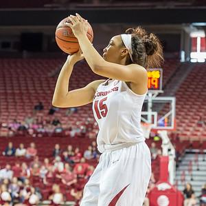 Arkansas Lady Razorbacks guard Kelsey Brooks (15) shoots a jump shot during a basketball game between Arkansas and Ole Miss on 2-28-16.   (Alan Jamison, Nate Allen Sports Service)
