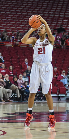 Arkansas Lady Razorbacks guard Devin Cosper (21) shoots during a basketball game between Arkansas and Southeastern Louisiana on November 13, 2015.    (Alan Jamison, Nate Allen Sports Service)
