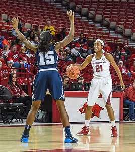 Arkansas Lady Razorbacks guard Devin Cosper (21) at point during a basketball game between Arkansas and Oral Roberts on December 10, 2015.    (Alan Jamison, Nate Allen Sports Service)