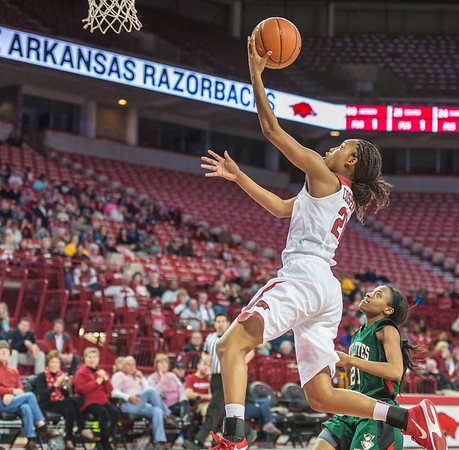 Arkansas Lady Razorbacks guard Devin Cosper (21) shoots during a basketball game between Arkansas and Mississippi Valley State on December 28, 2015.    (Alan Jamison, Nate Allen Sports Service)