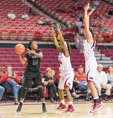 Arkansas Lady Razorbacks guard Jordan Danberry (24) and Bailey Zimmerman (22) press during a basketball game between Arkansas and Oklahoma Baptist University on Thursday, November 3, 2016.  (Alan Jamison, Nate Allen Sports Service)