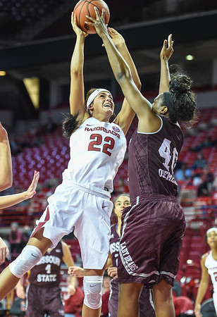 Arkansas Lady Razorbacks guard/forward Bailey Zimmerman (22) shoots during a basketball game between Arkansas and Missouri State on December 2, 2015.    (Alan Jamison, Nate Allen Sports Service)