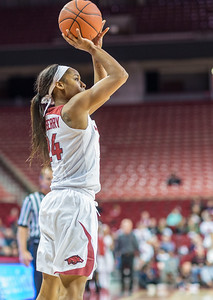 Arkansas Lady Razorbacks guard Jordan Danberry (24) shoots during a basketball game between Arkansas and Texas A&M on January 7, 2016.    (Alan Jamison, Nate Allen Sports Service)