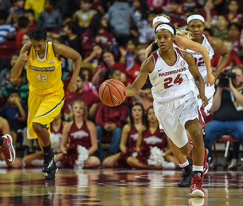 Arkansas Lady Razorbacks guard Jordan Danberry (24) with the ball during a basketball game between Arkansas and Southeastern Louisiana on November 13, 2015.    (Alan Jamison, Nate Allen Sports Service)