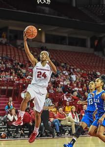 Arkansas Lady Razorbacks guard Jordan Danberry (24) with a layup during a basketball game between Arkansas and Tulsa on November 23, 2015.    (Alan Jamison, Nate Allen Sports Service)