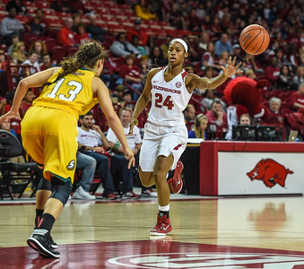 Arkansas Lady Razorbacks guard Jordan Danberry (24) with an assist during a basketball game between Arkansas and Southeastern Louisiana on November 13, 2015.    (Alan Jamison, Nate Allen Sports Service)