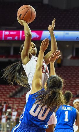 Arkansas Lady Razorbacks guard Jordan Danberry (24) shoots during a basketball game between Arkansas and Tulsa on November 23, 2015.    (Alan Jamison, Nate Allen Sports Service)