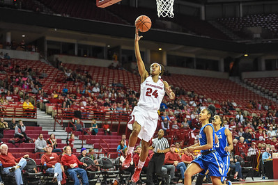 Arkansas Lady Razorbacks guard Jordan Danberry (24) with a layup during a basketball game between Arkansas and Tulsa on November 23, 2015.    (Alan Jamison, Nate Allen Sports Service)