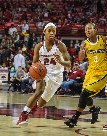 Arkansas Lady Razorbacks guard Jordan Danberry (24) drives during a basketball game between Arkansas and Southeastern Louisiana on November 13, 2015.    (Alan Jamison, Nate Allen Sports Service)