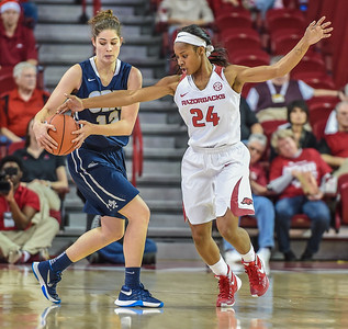 Arkansas Lady Razorbacks guard Jordan Danberry (24) attempts a steal during a basketball game between Arkansas and Oral Roberts on December 10, 2015.    (Alan Jamison, Nate Allen Sports Service)