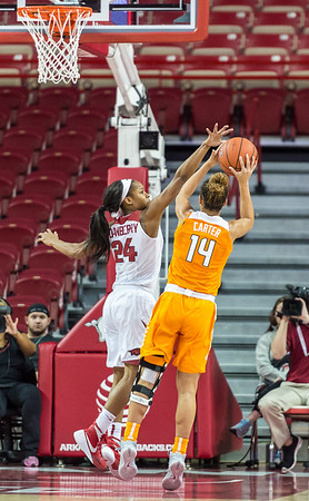 Arkansas Lady Razorbacks guard Jordan Danberry (24) defends against Tennessee Lady Volunteers guard Andraya Carter (14) during a basketball game between Arkansas and Tennessee on January 14, 2016.    (Alan Jamison, Nate Allen Sports Service)