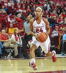 Arkansas Lady Razorbacks guard Jordan Danberry (24) with a fast break during a basketball game between Arkansas and Tulsa on November 23, 2015.    (Alan Jamison, Nate Allen Sports Service)