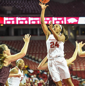 Arkansas Lady Razorbacks guard Jordan Danberry (24) shoots during a basketball game between Arkansas and Missouri State on December 2, 2015.    (Alan Jamison, Nate Allen Sports Service)