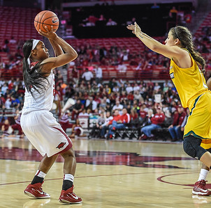 Arkansas Lady Razorbacks guard Jordan Danberry (24) shoots during a basketball game between Arkansas and Southeastern Louisiana on November 13, 2015.    (Alan Jamison, Nate Allen Sports Service)