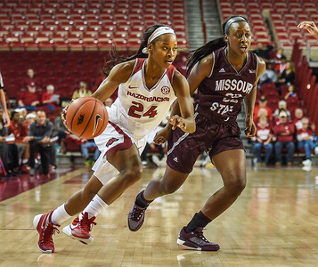 Arkansas Lady Razorbacks guard Jordan Danberry (24) drives during a basketball game between Arkansas and Missouri State on December 2, 2015.    (Alan Jamison, Nate Allen Sports Service)