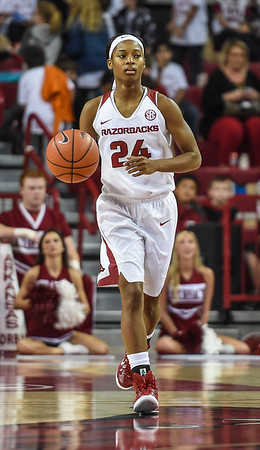 Arkansas Lady Razorbacks guard Jordan Danberry (24) at point during a basketball game between Arkansas and Southeastern Louisiana on November 13, 2015.    (Alan Jamison, Nate Allen Sports Service)