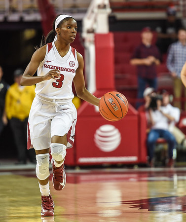 Arkansas Lady Razorbacks guard Malica Monk (3) at point during a basketball game between Arkansas and Missouri State on December 2, 2015.    (Alan Jamison, Nate Allen Sports Service)