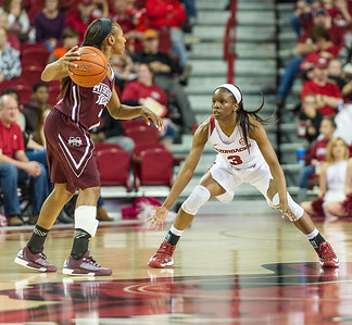 Arkansas Lady Razorbacks guard Malica Monk (3) defends during a basketball game between Arkansas Lady Razorbacks and Mississippi State Lady Bulldogs  on January 31, 2016.    (Alan Jamison, Nate Allen Sports Service)