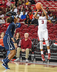 Arkansas Lady Razorbacks guard Malica Monk (3) shoots a three pointer during a basketball game between Arkansas and Oral Roberts on December 10, 2015.    (Alan Jamison, Nate Allen Sports Service)