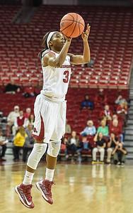 Arkansas Lady Razorbacks guard Malica Monk (3) shoots during a basketball game between Arkansas and Tulsa on November 23, 2015.    (Alan Jamison, Nate Allen Sports Service)