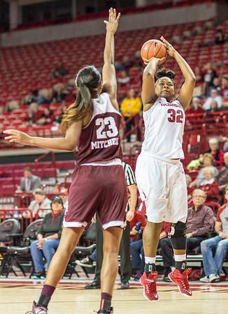 Arkansas Lady Razorbacks forward Khadijah West (32) during a basketball game between Arkansas and Texas A&M on January 7, 2016.    (Alan Jamison, Nate Allen Sports Service)