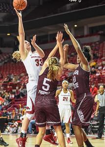 Arkansas Lady Razorbacks forward Melissa Wolff (33) shoots during a basketball game between Arkansas and Missouri State on December 2, 2015.    (Alan Jamison, Nate Allen Sports Service)