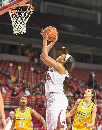 Arkansas Lady Razorbacks center Alecia Cooley (35) with a shot during a basketball game between Arkansas and Southeastern Louisiana on November 13, 2015.    (Alan Jamison, Nate Allen Sports Service)
