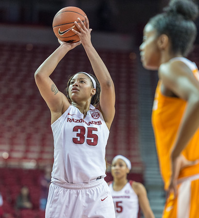 Arkansas Lady Razorbacks center Alecia Cooley (35) hit 5 of six free throws during a basketball game between Arkansas and Tennessee on January 14, 2016.    (Alan Jamison, Nate Allen Sports Service)