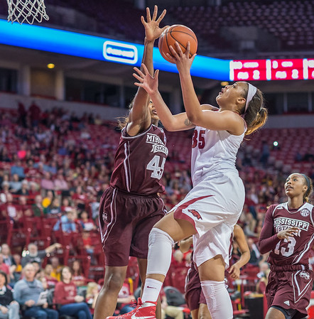 Arkansas Lady Razorbacks center Alecia Cooley (35) with a layup during a basketball game between Arkansas Lady Razorbacks and Mississippi State Lady Bulldogs  on January 31, 2016.    (Alan Jamison, Nate Allen Sports Service)