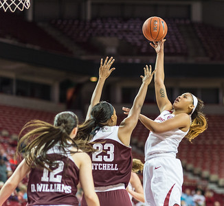 Arkansas Lady Razorbacks center Alecia Cooley (35) shoots during a basketball game between Arkansas and Texas A&M on January 7, 2016.    (Alan Jamison, Nate Allen Sports Service)