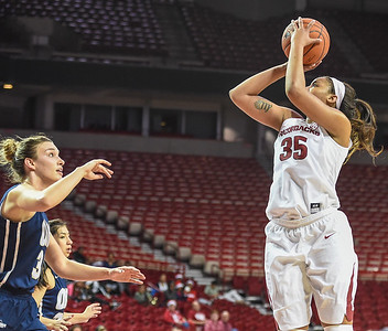Arkansas Lady Razorbacks center Alecia Cooley (35) shoots during a basketball game between Arkansas and Oral Roberts on December 10, 2015.    (Alan Jamison, Nate Allen Sports Service)