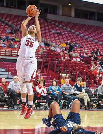 Arkansas Lady Razorbacks center Alecia Cooley (35) shoots during a basketball game between Arkansas and Oral Roberts on December 10, 2015.    (Alan Jamison, Nate Allen Sports Service)