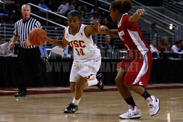 Pac-10 Tournament Round 1 - Cassie Harberts leads USC with 31 points to a victory over WSU (78-66)<br /> WBKvWSU_Pac10T_030911_Kondrath_1110