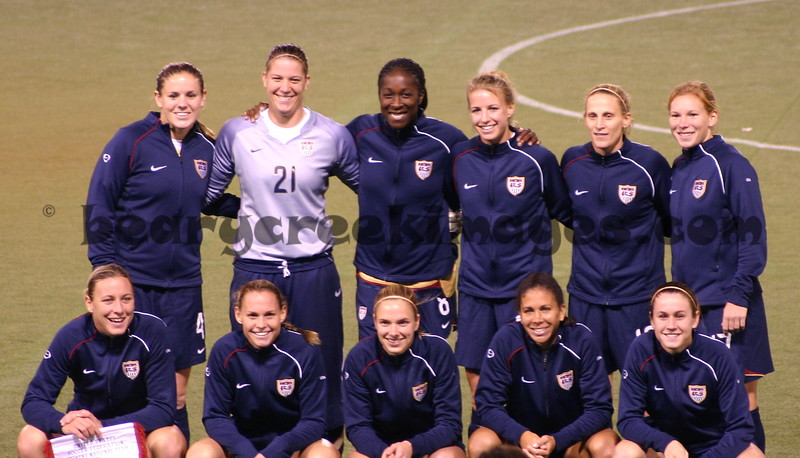 Starters for the US Team, Back: Whitehill, Barnhart, Ellertson, Wagner, Lilly, Chalupny.  Front: Wambach, Rampone, Tarpley, Boxx, O'Reilly