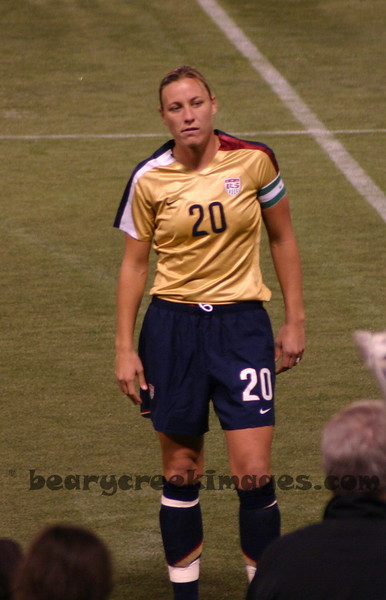 Abby Wambach, being honored for her 100th cap (the semi-finals during World Cup against England)  She looks really excited, doesn't she?