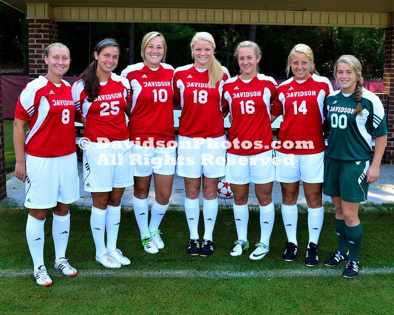 13 August 2012: Davidson women's soccer poses for team pictures at Alumni Soccer Stadium in Davidson, North Carolina.