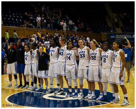 Happy faces.  Undefeated for the season (9-0), Duke wins 77-63 against #10 California. <br /> <br /> Duke vs California Women's Basketball