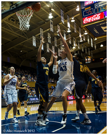 Allison Vernerey (43)<br /> Duke vs California Women's Basketball<br /> <br /> Cameron Indoor Stadium<br /> Duke University<br /> Durham, NC <br /> December 2, 2012