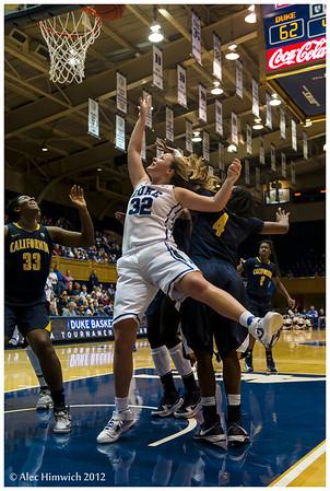 DUke's Tricia Liston (#32) scoring two of her game high 22 points<br /> Duke vs University of California WBB<br /> <br /> Cameron Indoor Stadium<br /> Duke University<br /> Durham, NC