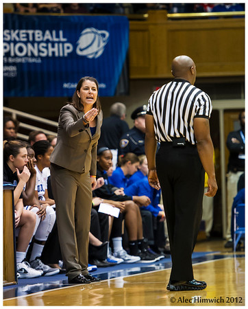 Coach Joanne .P McCallie discussing the quality of referee work.<br /> Duke vs California Women's Basketball<br /> <br /> Cameron Indoor Stadium<br /> Duke University<br /> Durham, NC <br /> December 2, 2012