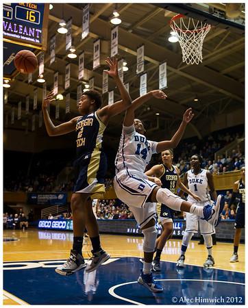 Ka'lia Johnson (#14) and Aaliyah Whiteside (#2)<br /> Duke vs Georgia Tech WBB<br /> <br /> Cameron Indoor Stadium<br /> Duke University<br /> Durham, NC<br /> December 6, 2012
