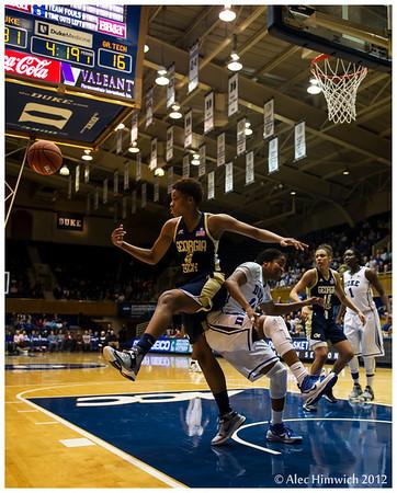 Ka'lia Johnson (Duke #14) and Aaliyah Whiteside (Georgia Tech #2)<br /> Duke vs Georgia Tech WBB<br /> <br /> Cameron Indoor Stadium<br /> <br /> Duke University<br /> Durham, NC<br /> December 6, 2012